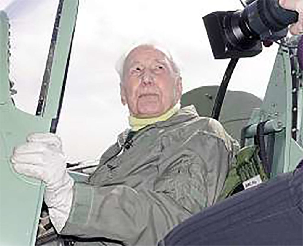 After the flight in the Spitfire Tr.9 (PV202), Alex over Cambridgeshire on 24 March 2005. was interviewed for BBC local television.