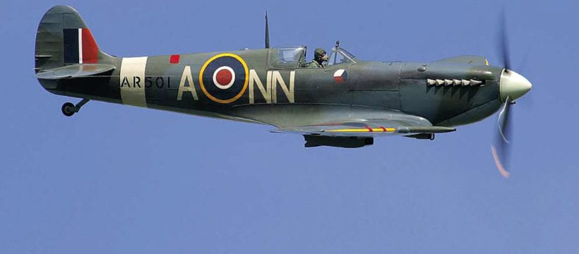 AR501 wearing its authentic 312 (Czech) Squadron paintwork making one of its regular appearances at Old Warden before going in for its major restoration. All Nick Blacow