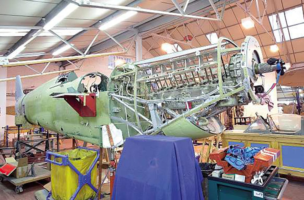 The Spitfire Vc gradually coming back together at Old Warden.