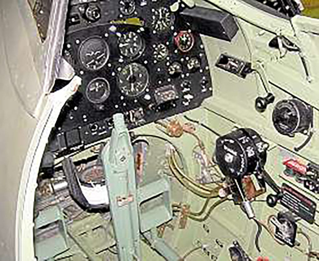 Cockpit view; the control column is still waiting for the spade grip.