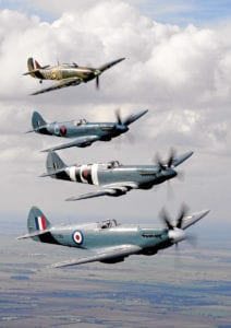 Bringing this BBMF section full circle, the four founder HAF aircraft are pictured in a formation to mark the Flight's 50th anniversary in 2007. Spitfire PR.XIXs PS915, PM631 and PS853 (the latter is now with Rolls-Royce) form an eye-catching stack with Hurricane IIc LF363. The addition of a Mk.XVI to the BBMF's airworthy fleet will bring back recollections of the Flight's early years. Andrea Featherby