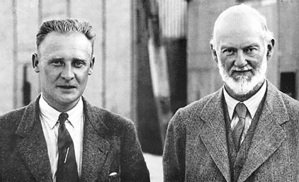 RJ Mitchell (left), designer of the Supermarine Spitfire, seen with Sir Henry Royce whose Merlin engine provided the necessary power and reliability for the new fighter and many other wartime British aircraft. Via François Prins