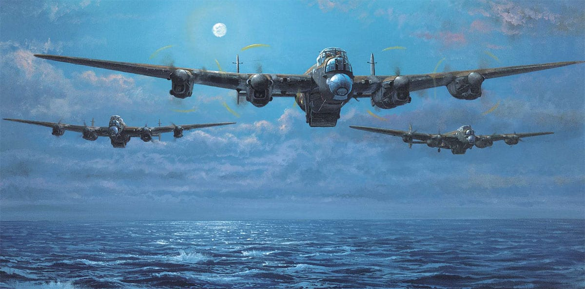 'Enemy Coast Ahead' by Philip E West depicts a wave of three Lancasters of 617 Squadron led by Wg Cdr Guy Gibson as they make their low-level cross-channel dash on the way to the heart of the Ruhr on the night of 16/17 May 1943. Operation Chastise was the codename for the attack on the Möhne, Eder and Sorpe Dams. Courtesy SWA Fine Art Publishers
