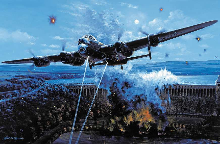 'Primary Target' depicts the final seconds before the Möhne Dam breaches on 17 May 1943, as the bouncing bomb of Flt Lt Maltby's Lancaster explodes through the structure. Courtesy SWA Fine Art Publishers