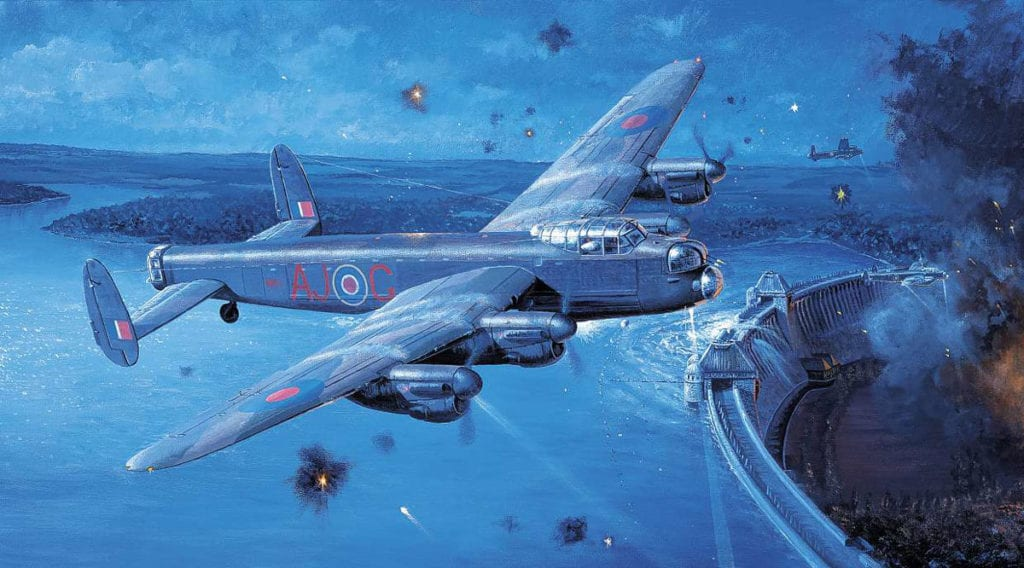 'Eye of the Storm' by Philip E West features Wg Cdr Gibson's Lancaster in the foreground and Flt Lt Martin's in the distance, both drawing flak away from Sqn Ldr Young's aircraft after it has dropped its 'bouncing bomb' and makes its escape over the Möhne Dam. Courtesy SWA Fine Art Publishers