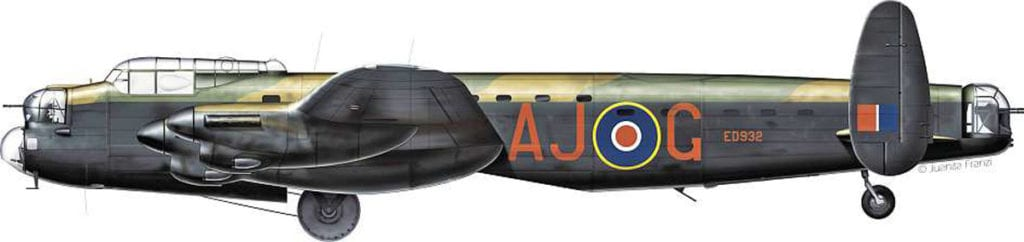 Profile artwork depicting Wg Cdr Guy Gibson's Lancaster B.III (Special) ED932 AJ-G fitted with an Upkeep for Operation Chastise. Juanita Franzi/Aero Illustrations © 2009