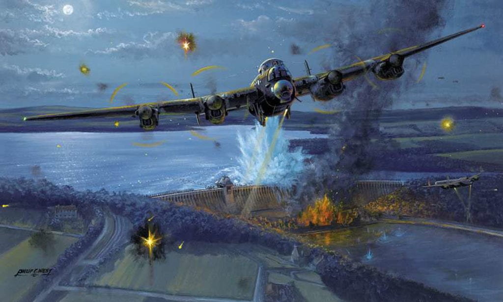 Wg Cdr Guy Gibson is shown drawing defensive fire away from Flt Lt Maltby's aircraft as it passes over the Möhne, just as his mine explodes and breaches the dam, in Philip E West's 'Night of Heroes'. Courtesy SWA Fine Art Publishers