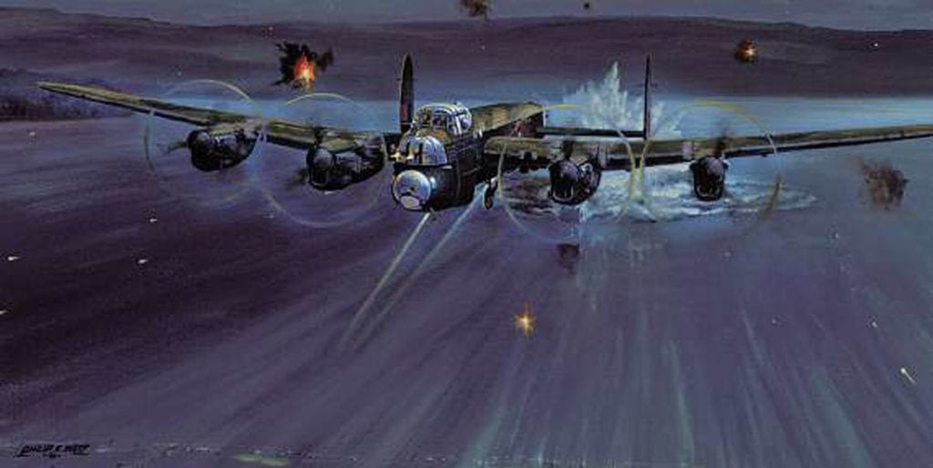 'Every Second Counts' by Philip E West portrays the Lancaster of Wg Cdr Guy Gibson and crew having just released the first Upkeep of the Dams raid against their primary target, the Möhne Dam. Courtesy SWA Fine Art Publishers